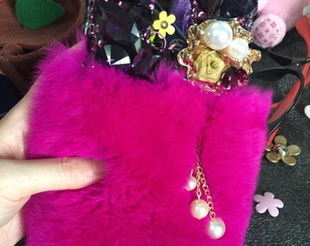 New Bling Rose Soft Fluffy Fur Furry Sparkly Flower Tassel Pendant Crystals Rhinestones Diamonds Hard Cover Case for Various Mobile Phones