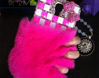 New Bling Hot Pink Soft Fluffy Fur Furry Bow Gems Luxury Lovely Fashion Crystals Rhinestones Diamonds Gems Hard Cover Case for Mobile Phone