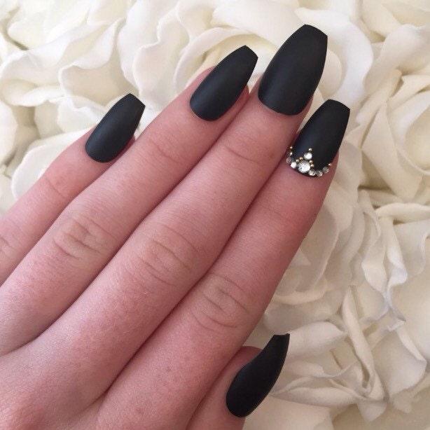 Matte black coffin nails with rhinestones and by ...