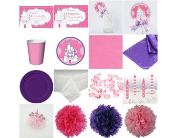 Princess Birthday Standard Party in a box. Invitation. Decoration. Favors. Centerpiece.