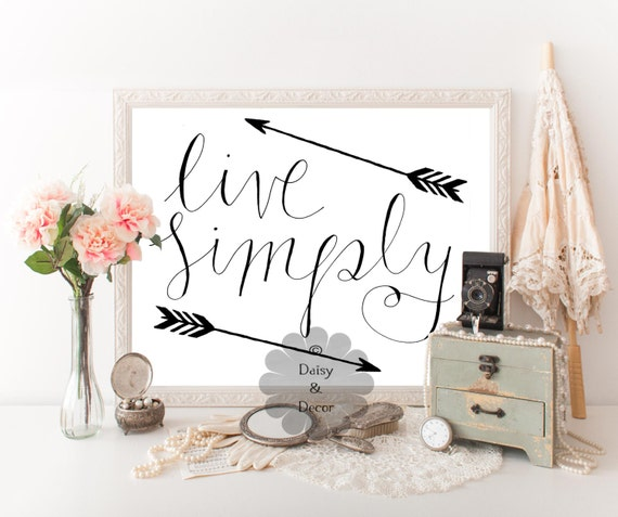 Live simply handwritten quote print wall art typography wall for Live simply wall art