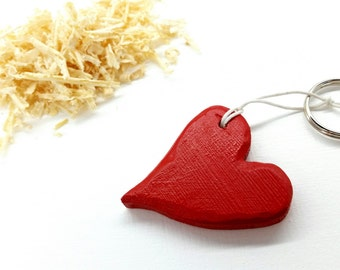 Heart Keychain Wood Heart Keychain Red Keychain Red Keychain Red Heart Keychain Wooden Heart  Valentine's Day Gift Valentine's Day Heart