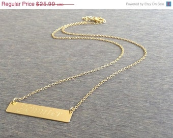SALE Geometric Bar Name Necklace, Geometric Gold Necklace, Gold Dainty Jewelry, Cool Minimalistic Necklace, Gift Under 30, Simple  Necklace