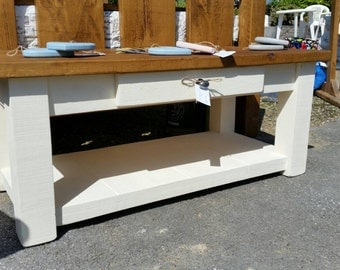 Coffee table with drawer and shelf for storage, solid wood, waxed top and painted base, cream - 4' x 2'