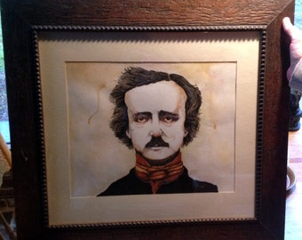 Edgar Allan Poe, Framed and matted original watercolor painting