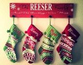 Personalized stocking holder, Christmas stocking holder, Christmas sign decor