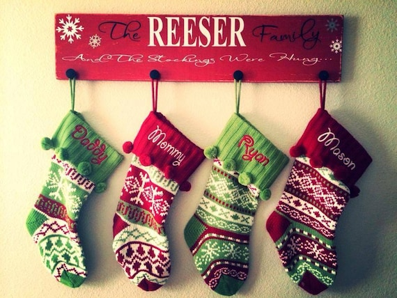 Personalized stocking holder, Christmas stocking holder, Christmas sign decor