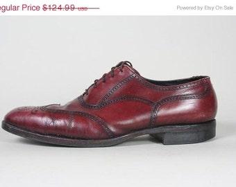 ON SALE Vtg Florsheim Imperial Burgundy Wingtip Oxford Shoe 10