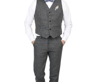 ON SALE Retro Modern Wool Tweed Vest/Pants Suit Groomsmen Set Monkey Suits