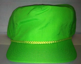 Vintage Neon Green lime Snapback hat cap rare 90s deadstock party rave nylon dayglo blacklight