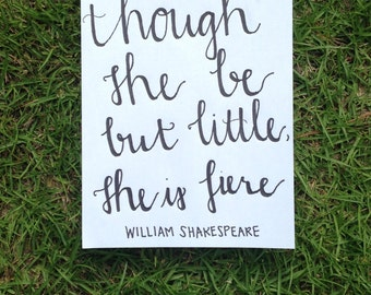 And Though She Be But Little She is Fierce Canvas Painting Shakespeare Quote Wall Art Inspirational Baby Girl Nursury Decor