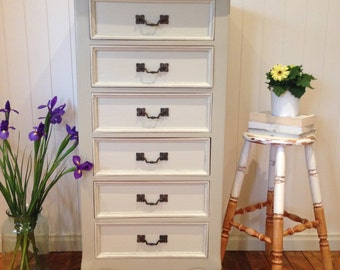 Sold - Antique Chest of Drawers in Oyster Linen