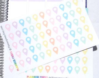 Pastel Map Point Travel Planner Sticker for Erin Condren Life Planner (ECLP) Reminder Sticker 1416