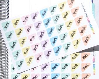 Pastel Work Rounded Corner Flags Font One Planner Sticker fits Erin Condren Life Planner (ECLP) Reminder Sticker 1743