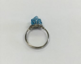 Blue Topaz Rondelle Bead Cluster Wire Ring