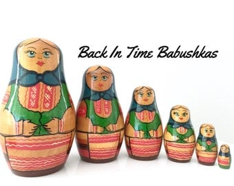 Vintage Unique Belarus Russian Nesting Doll Maidens with Blue Vests. Matryoshka Doll, Babushka Doll, Stacking Doll Set of Six.