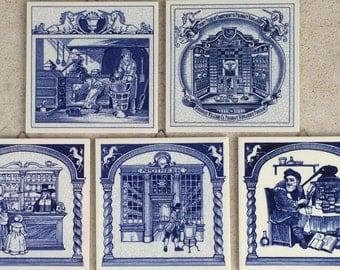 Vintage Delft Blue Tile Set