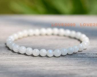 Moonstone bracelet, 6mm blue shinning moonstone bracelet,Women's Bracelet, bracelet gift for her, yoga bracelet, healing bracelet