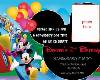 Mickey Mouse Birthday Invitation. Mickey Mouse Clubhouse Invitation. Mickey Mouse Birthday. Minnie Mouse Invitation. Digital (you print)