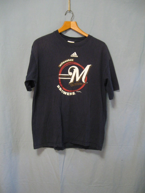 vintage mens m adidas milwaukee brewers shirt chest
