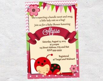 ladybug baby shower invitation chalkboard chevron pattern ladybug baby shower invitation