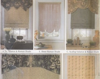 Simplicity 5476 Window Treatments Sewing Pattern - Romans Shades & Valances Sewing Pattern - Home Decor Pattern - Uncut Sewing Pattern