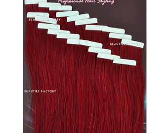 Beauties Factory Handmade Tape in Skin Weft 100% Remy Human Hair Extensions Color BUG Pure Burgundy