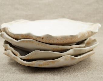 "Organic Shape Ceramic Plates, Handmade Dishes,""Om"" Symbol, Speckled Rustic White Glaze, Yoga Lover Gift, Dinnerware, Tableware."