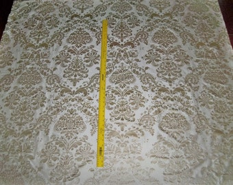SILK LOOM FORTUNY Style Venetian Lotus Medallion Printed Silk Damask Fabric 10 Yards Cream Beige
