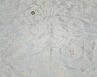 SCHUMACHER FRENCH LOTUS Medallions Silk Damask Fabric 10 yards Sky Blue Platinum