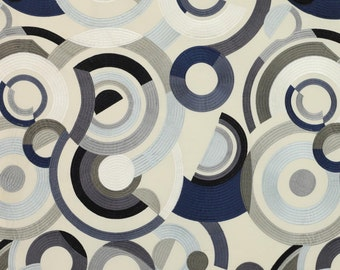 JACK LARSEN EMBROIDERED Retro Art Deco Circles Fabric 10 Yards Black Charcoal Oyster Multi