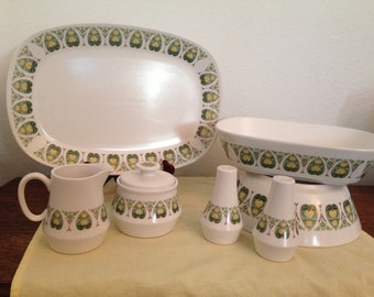 Noritake Palos Verde 7 Piece Serving Set Salt and pepper, Sugar and Creamer, Platter and Bowls