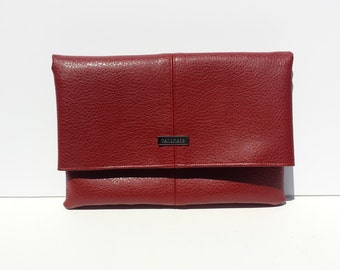 Red Faux Leather Foldover Clutch