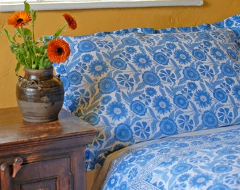 Blue Sunflower Duvet Cover Hand Block Printed on Organic Cotton