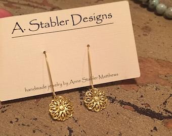 Gold Flower Dangle Earrings