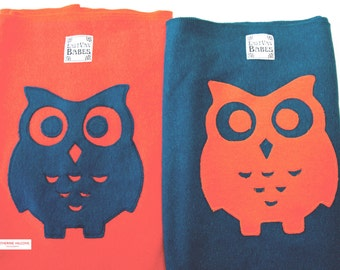 Hemp/ Recycled Fleece Baby Wrap Carrier - Awake Owl