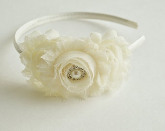 Ivory Girls Headband, Flower Girl Headband Ivory, Photo Shoot Headband, Toddler Ivory Headband, Shabby Headband