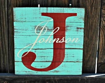 """Reclaimed Wood Custom Monogram Sign With Distressed Background 12""""x12"""""""