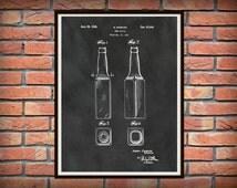 Patent 1934 Beer Bottle - Art Print Poster - Wall Art - Tavern Art - Sports