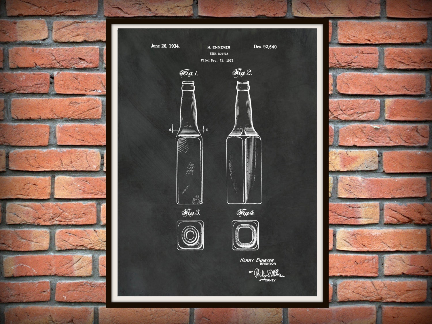 patent 1934 beer bottle art print poster wall art