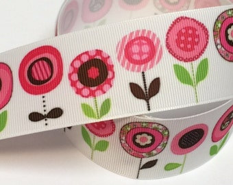 1.5 inch Modern Blossoms - Compliments Cutest Butterflies - Printed Grosgrain Ribbon 1 1/2 for Hair Bow