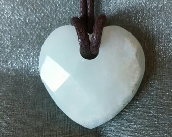 Amazonite crystal necklace heart  crystal necklace loveheart