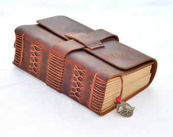 Personalized Leather Journal Notebook (Free stamp)