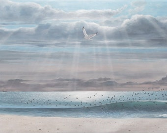 Hand painted mural. Scene of local beach. Acrylic on muslin. Beautiful seaside painting full of light color and wildlife