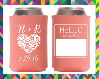 Heart Initials - Custom Can Cooler - Wedding Favor - Coozie - Personalize