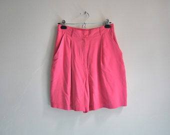 80s Bubblegum Pink High Waisted Silk Shorts, Vintage Jeremy Scott 100% Pleated Silk Culottes