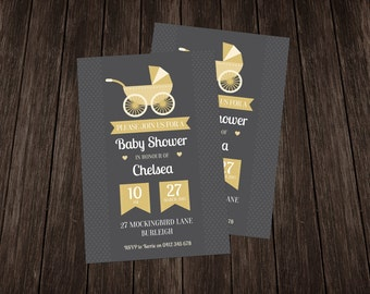 Vintage Baby Shower Invite-Yellow