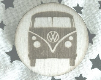 VW VAN Brooch Lasercut from Wood