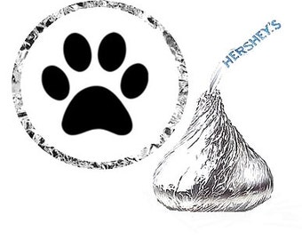 Paw Print Party Favor Hershey's Kisses Stickers / Labels -216ct