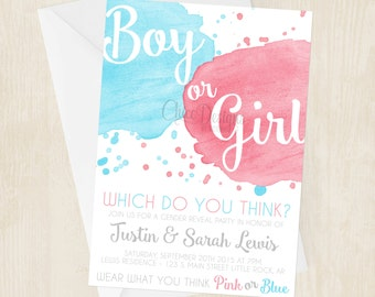 Watercolor Gender Reveal Party Invitation - Boy or Girl - Pink & Blue - Digital/Printable File